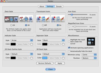 El personalizador definitivo para el Dock, iDocker