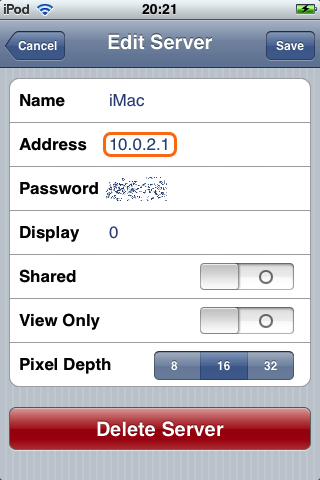 VNsea, cliente VNC para el iPhone & iPod touch