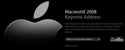 Ya puedes ver la Keynote MacWorld 2008 en Apple