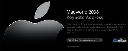 Ya puedes ver la Keynote MacWorld 2008 enApple