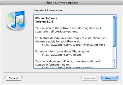 Nuevo firmware para el iPhone 1.1.4, con SDK?