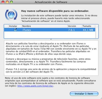 Nueva actualización de Apple, iTunes7.6.1
