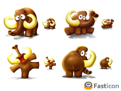 4 iconos cachondos de un mamut