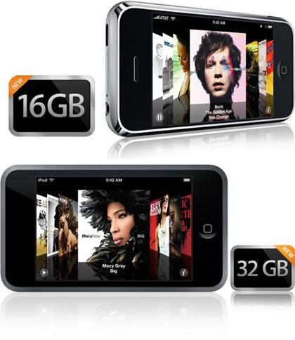 Apple actualiza el iPhone a 16GB y el iPod touch a 32GB