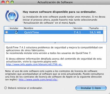 Nueva actualización de QuickTime7.4.1
