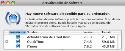 Front Row, QuickTime, iTunes