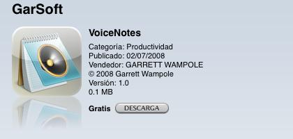 Probando la App Store y descubriendo Apps como VoiceNotes