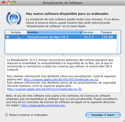 Nueva actualización de Mac OS X 10.5.5