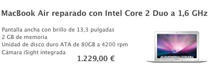 En la Apple Store hay un MacBook Air por 1229 €