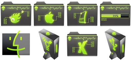 Area 52, iconos con luces de neón para tu Mac