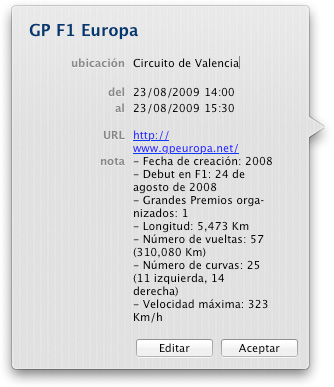 El Calendario de F1 2009 en tu iCal, iPhone e iPod