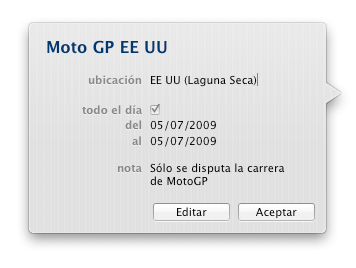 El Calendario de Moto GP en tu iCal, iPod e iPhone