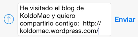 Blog compartido por WhatsApp